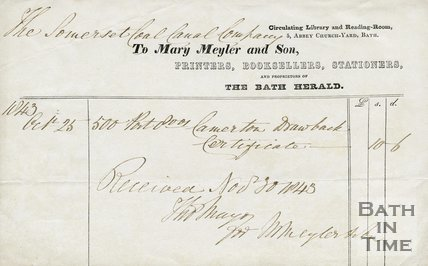 Trade Card for Mary MEYLER and Son 5 Abbey Church Yard, Bath 1843