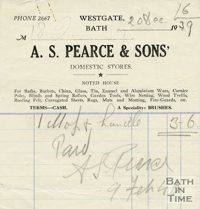 Trade Card for A. S. PEARCE & Sons Westgate, Bath 1939