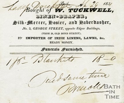 Trade Card for W. TUCKWELL 4 George Street, opp. Edgar Buildings, Bath 1831