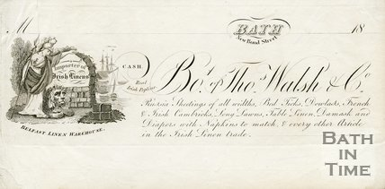 Trade Card for Thomas WALSH & Co. New Bond Street, Bath 1824