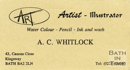 Trade Card for A. C. WHITLOCK 43 Canons Close, Kingsway, Bath 1996