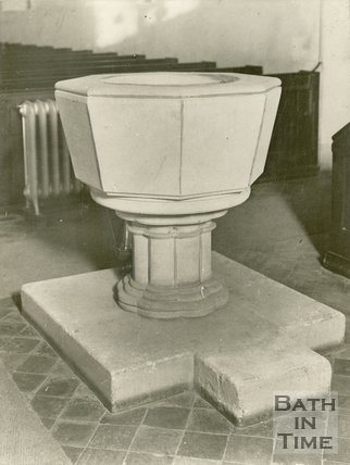 Neston, near Bath, Church Font, 1929