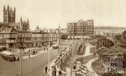 Terrace Walk, Parade Gardens and Empire Hotel, Bath, c.1940s