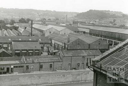 View over Stothert and Pitt's factory from the gas works retort house, Bath, June 1971
