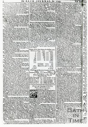 Bath Journal, Monday March 25th, 1745, page 2