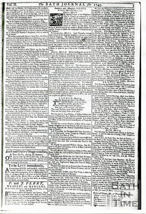 Bath Journal, Monday March 25th, 1745, page 3