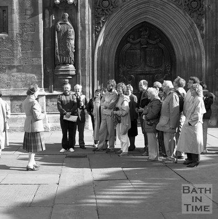 A Bath Tour Guide outside Bath Abbey, c.1989