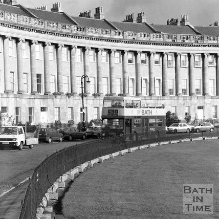 A Regency Tours bus on the Royal Crescent, Bath, c.1990
