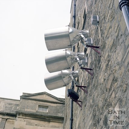 Floodlights to illuminate Pulteney Bridge, Bath, June 1985