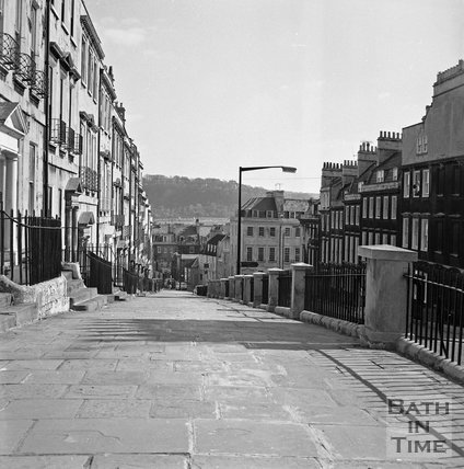 The high pavement at Belvedere, Bath, c.1977