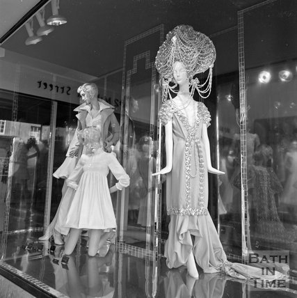 Mannequins in a shop window in Milsom Street, Bath, c.1977