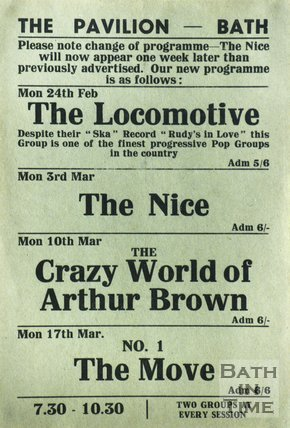 Flyer or Poster for The Locomotive, The Nice, The Crazy World of Arthur Brown and The Move at The Pavilion, Bath, 1969