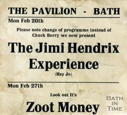 Flyer or Poster for Jimi Hendrix and Zoot Money at the Pavilion, Bath, Feb 20th 1967