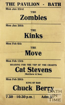 Flyer or Poster for The Zombies, The Kinks, The Move, Cat Stevens and Chuck Berry at the Pavilion, Bath, 1967