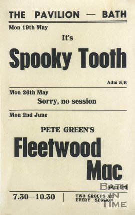 Flyer or Poster for Spooky Tooth and Pete Green's Fleetwood Mac at The Pavilion, Bath, 1969
