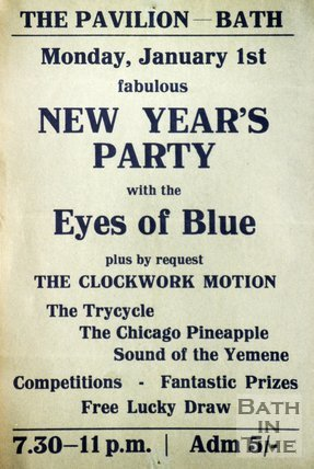 Flyer or Poster for New Year's Party at The Pavilion, Bath, 1968