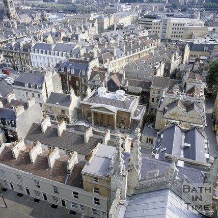 View of York Street from the tower of Bath Abbey, Bath, c.1980