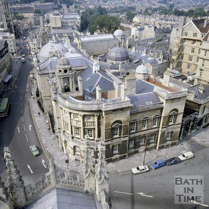 Looking down onto The Guildhall, Bath, c.1980