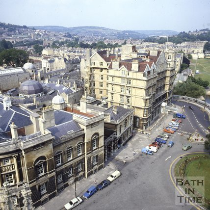 View of the Guildhall and Empire Hotel from the tower at Bath Abbey, Bath, c.1980