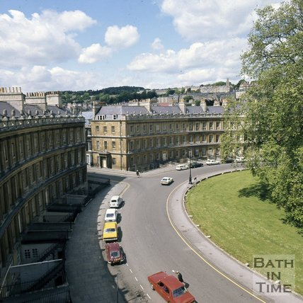 The Circus, Bath viewed from the rooftops, c.1975