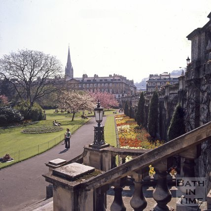 The steps at Parade Gardens, Bath with North Parade in the background, c.1975 - 1980