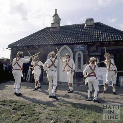 Bathampton Morris Dancers in front of the Lock Keeper's cottage, Widcombe on the Kennet & Avon Canal, c.1976