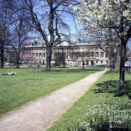 Queen Square, Bath in the spring, c.1975