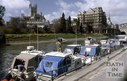 Pleasure boats on the River Avon, Bath, c.1980