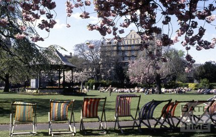 Deck chairs in Parade Gardens, Bath, c.1980