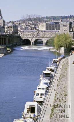 The River Avon with the Empire Hotel in the background, Bath, c.1980