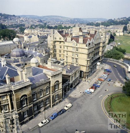 View of the police station (Browns) and The Empire Hotel, Bath from Bath Abbey tower, c.1982