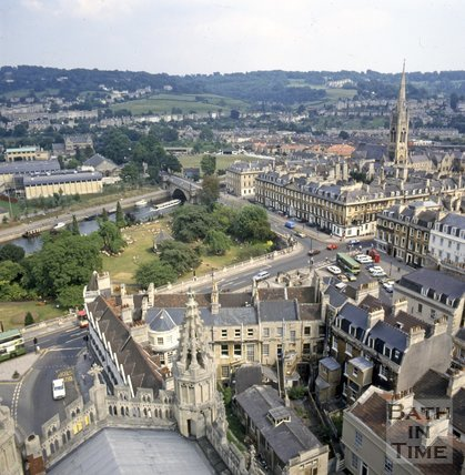 View of the Recreation Ground and Parade Gardens from Bath Abbey tower, c.1982