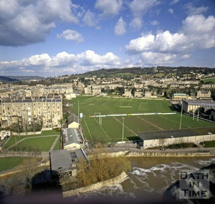 View of the River Avon and Recreation Ground from the roof of the Empire Hotel, Bath, c.1980