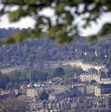 View of Lansdown Crescent from Beechen Cliff, Bath, c.1980