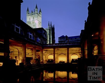 A twilight view of the Roman Baths and Bath Abbey, c.1980