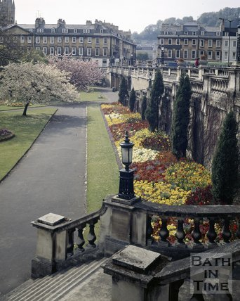 Parade Gardens with North Parade in the background, Bath, c.1975
