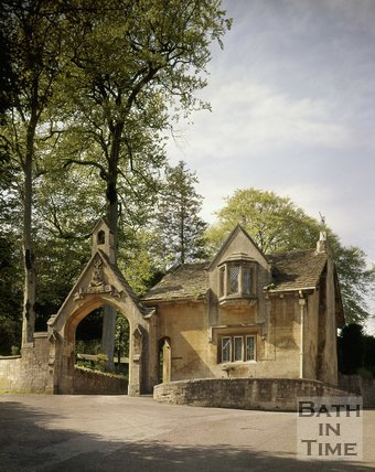 Lodge and arch to The Cloisters, Perrymead, Bath, c.1975