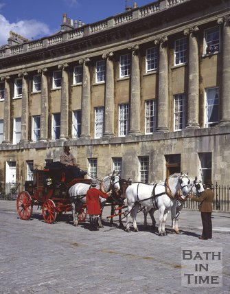 Four horses and mail coach outside the Royal Crescent, Bath, c.1980