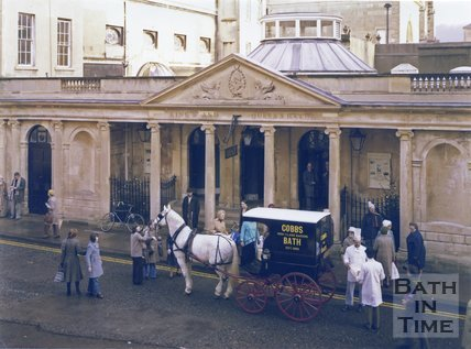 Cobbs Bakers Horse Drawn Carriage outside the King's and Queen's Bath entrance, Stall Street, Bath, c.1980