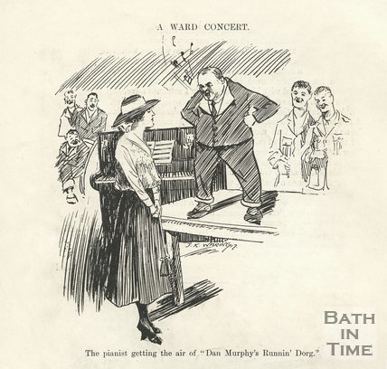 Cartoon of a ward concert at Bath War Hospital, 1917