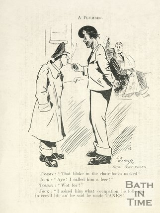 Cartoon of soldiers chatting at Bath War Hospital, 1917