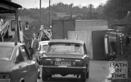 Lorry Crash on the old Gloucester Road at Swainswick, near Bath 2 November 1977