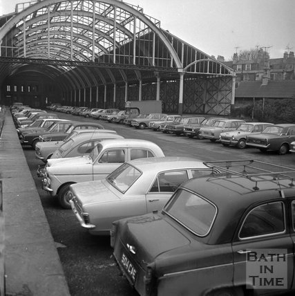 Green Park Station used as a car park, 19 January 1973