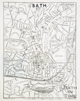 Historic Map of Bath by T Sturge Cotterell MBE, 1939