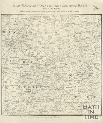A new map of the Country Twelve miles round Bath, 1824