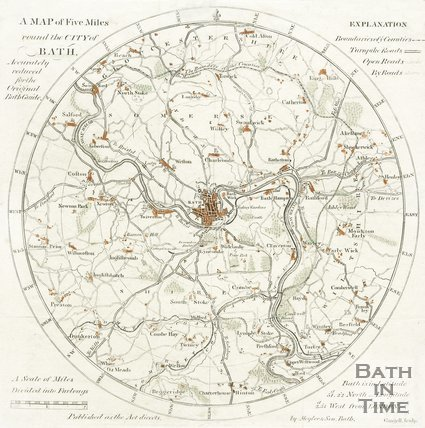 A Map of Five Miles round the City of Bath, accurately reduced for the Original Bath Guide, 1815