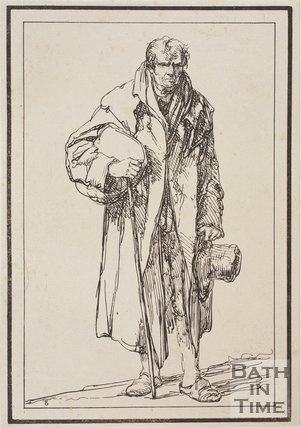 Rustic figure man with stick and hat sketched from life by Thomas Barker, c.1800