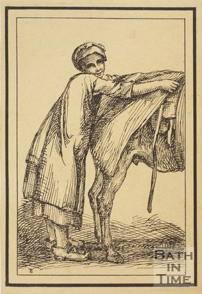 Rustic figure with donkey or horse sketched from life by Thomas Barker, c.1800