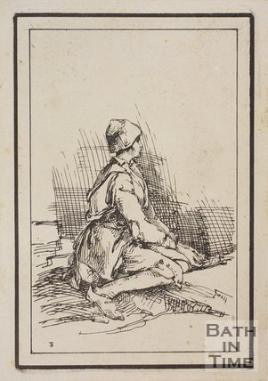 Rustic figure squatting child sketched from life by Thomas Barker, c.1800