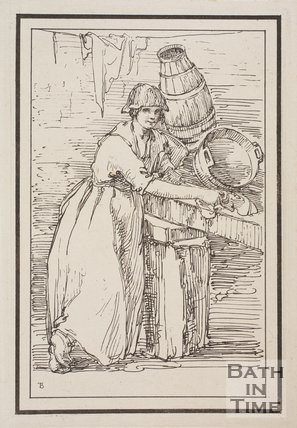 Rustic figure woman washing with faint smile sketched from life by Thomas Barker, c.1800